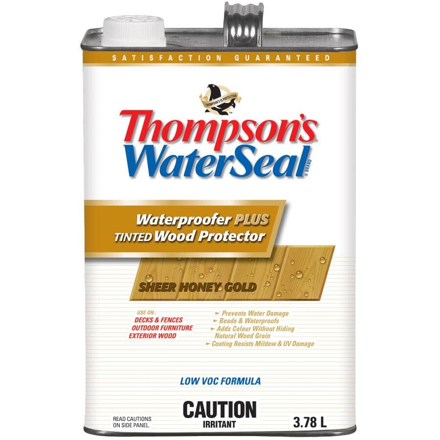 THOMPSON'S WATERSEAL:Waterproofer Plus Tinted Wood Protector - Honey Gold, 3.78 L