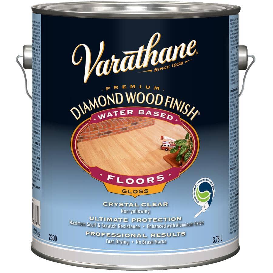 VARATHANE:Premium Diamond Wood Finish - for Floors, Crystal Clear Gloss, 3.78 L