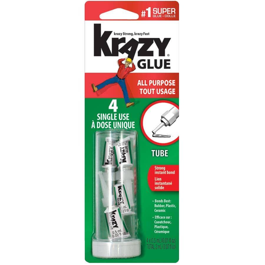KRAZY GLUE:All Purpose Tube Super Glue - 0.5 ml, 4 Pack