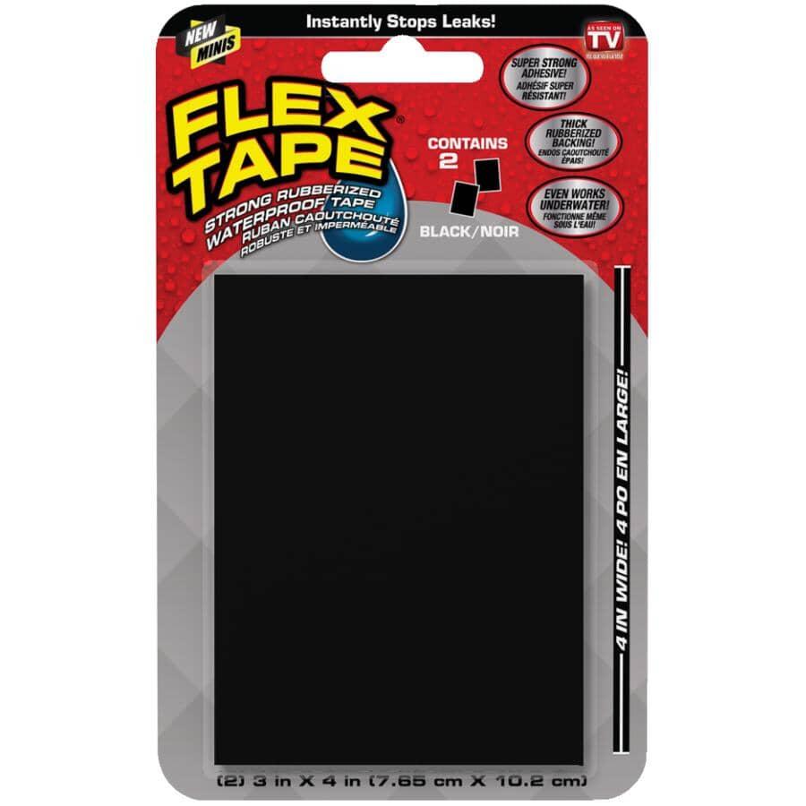 """FLEX SEAL:Rubberized Waterproof Tape Sheets - Black, 3"""" x 4"""", 2 Sheets"""