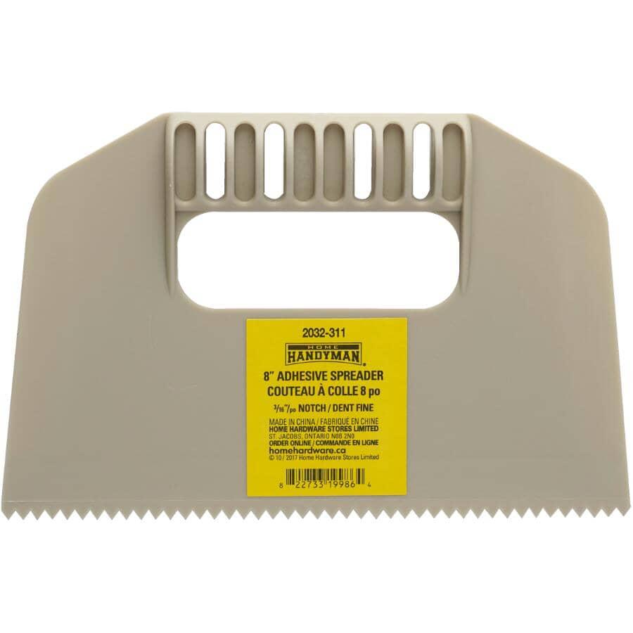 "HOME HANDYMAN:V Notch Adhesive Spreader - Plastic, 8"" x 3/16"""