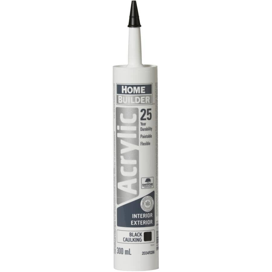 HOME BUILDER:25 Year All Purpose Acrylic Caulking - Black, 300 ml, 4 Pack