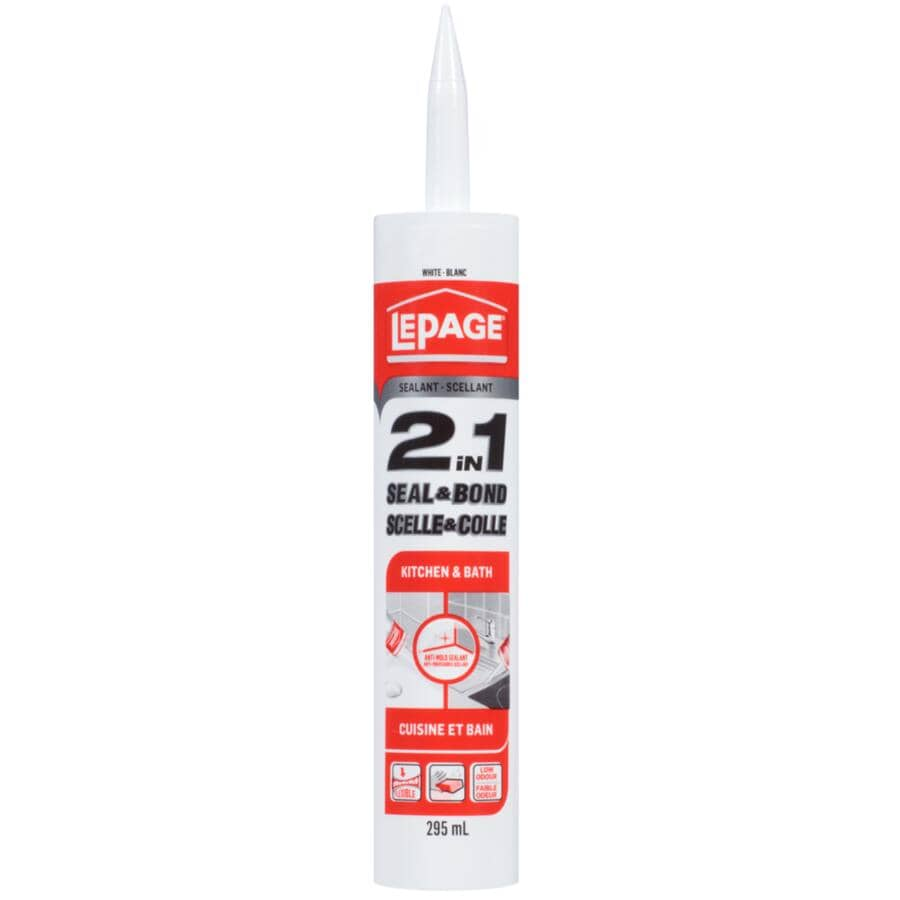 LEPAGE:2 in 1 Seal & Bond Kitchen & Bath Acrylic Sealant - White, 295 ml