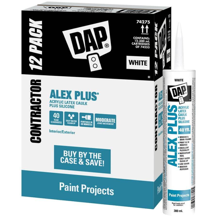 DAP:Alex Plus Acrylic Latex Caulk Plus Silicone - Brilliant White, 300 ml, 12 Pack