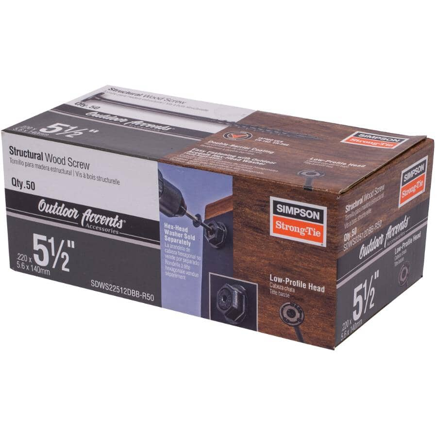"""SIMPSON STRONG-TIE:5-1/2"""" Double Barrier Structural Wood Screws - 50 Pack"""