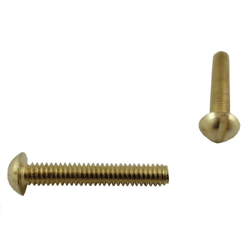 """HOME PAK:5 Pack #8-32 x 1"""" Brass Round Head Machine Screws"""