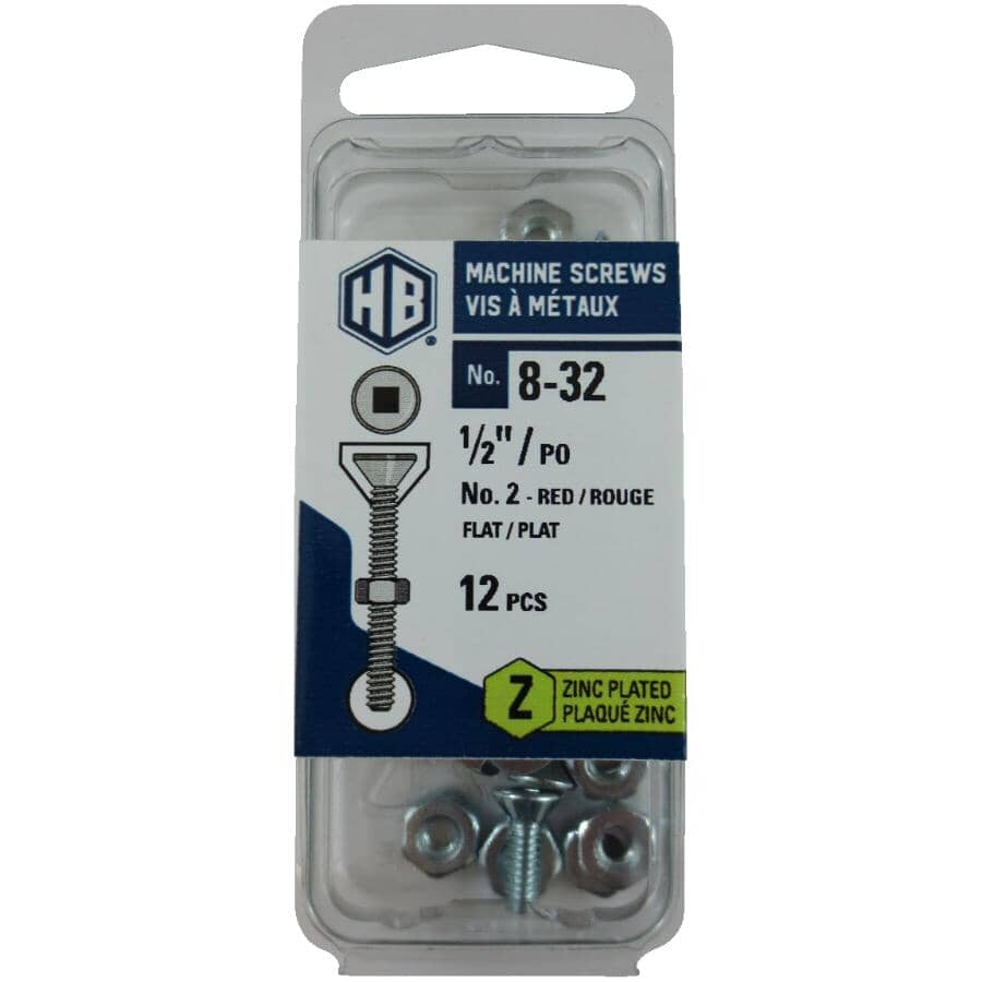 """HOME BUILDER:12 Pack #8-32 x 1/2"""" Zinc Plated Flat Head Machine Screws, with Nuts"""