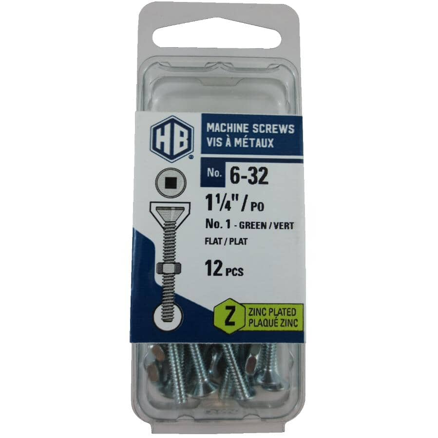 """HOME BUILDER:12 Pack #6-32 x 1-1/4"""" Zinc Plated Flat Head Machine Screws, with Nuts"""