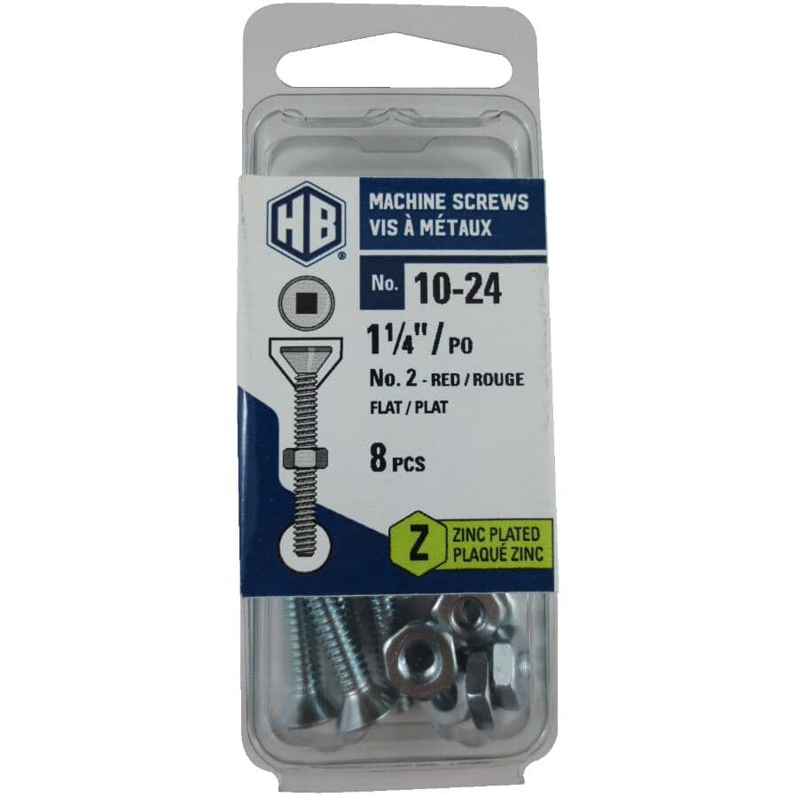 """HOME BUILDER:8 Pack #10-24 x 1-1/4"""" Zinc Plated Flat Head Machine Screws, with Nuts"""
