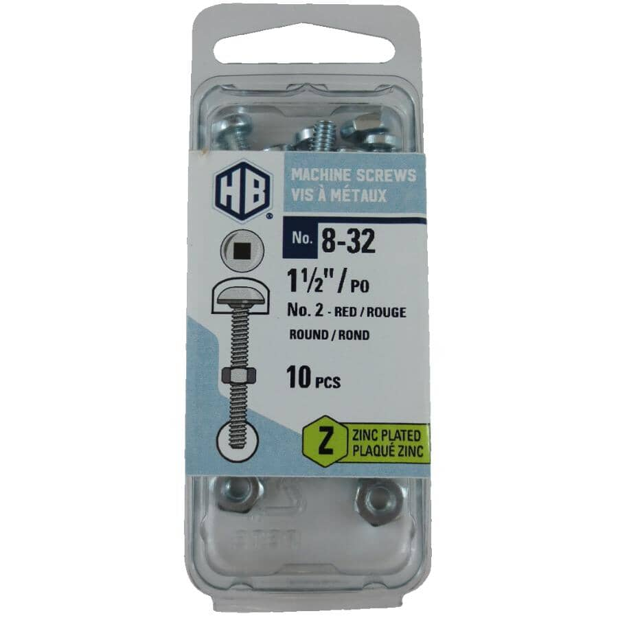 """HOME BUILDER:10 Pack #8-32 x 1-1/2"""" Zinc Plated Round Head Machine Screws, with Nuts"""