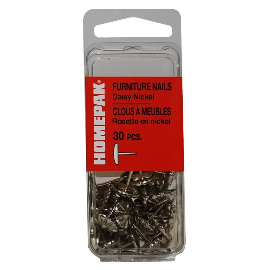 HOME PAK:30 Pack Large Nickel Daisy Upholstery Nails