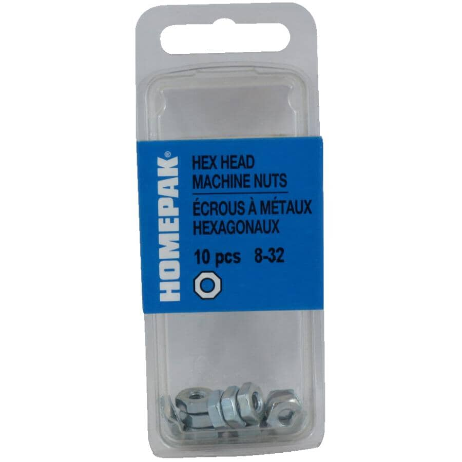HOME PAK:10 Pack #8-32 Zinc Plated Machine Hex Nuts