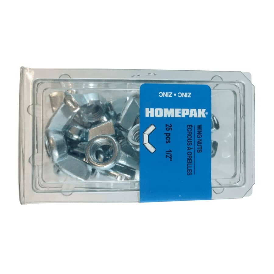 HOME PAK:25 Pack #10-24 Zinc Plated Wing Nuts