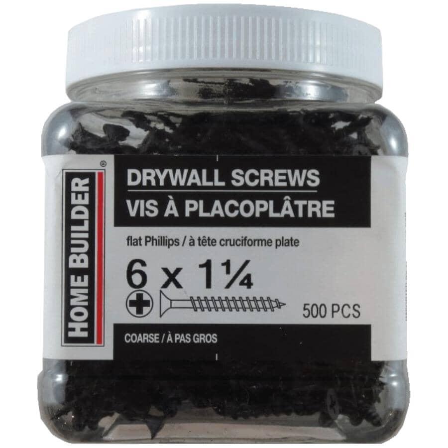 "HOME BUILDER:500 Pack #6 x 1-1/4"" Coarse Thread Drywall Screws"