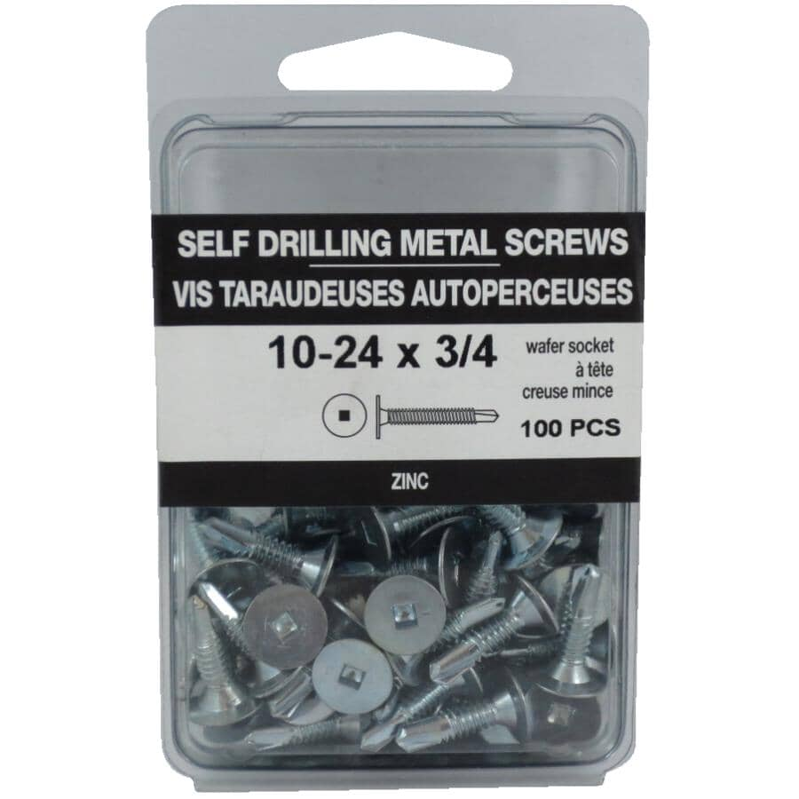 "HOME BUILDER:100 Pack #10 x 3/4"" Wafer Head Socket Self-Drilling Tap Screws"