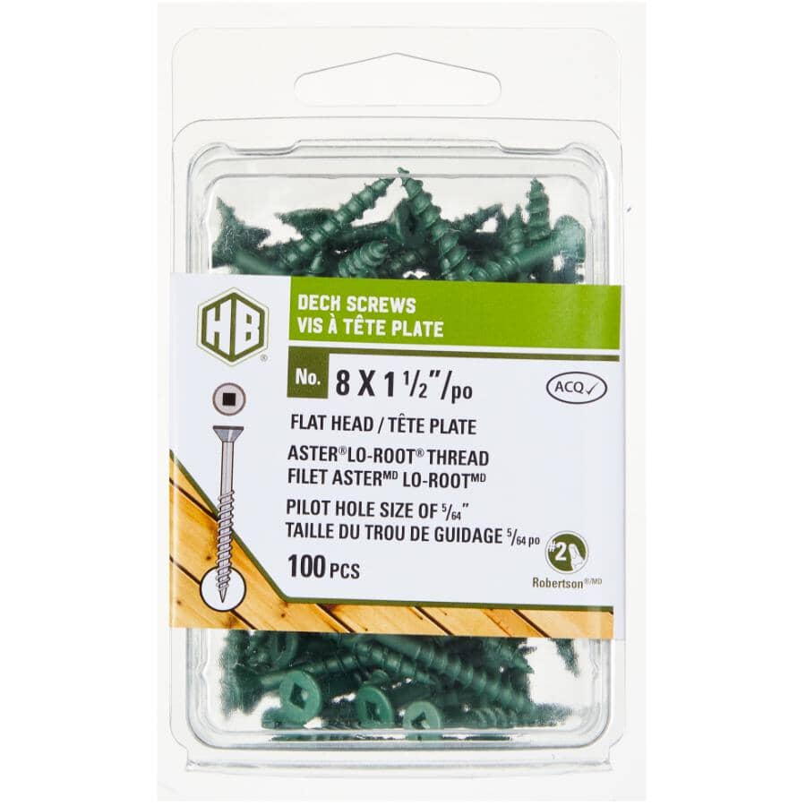 """HOME BUILDER:#8 x 1-1/2"""" Green Square Drive Deck Screws - 100 Pack"""