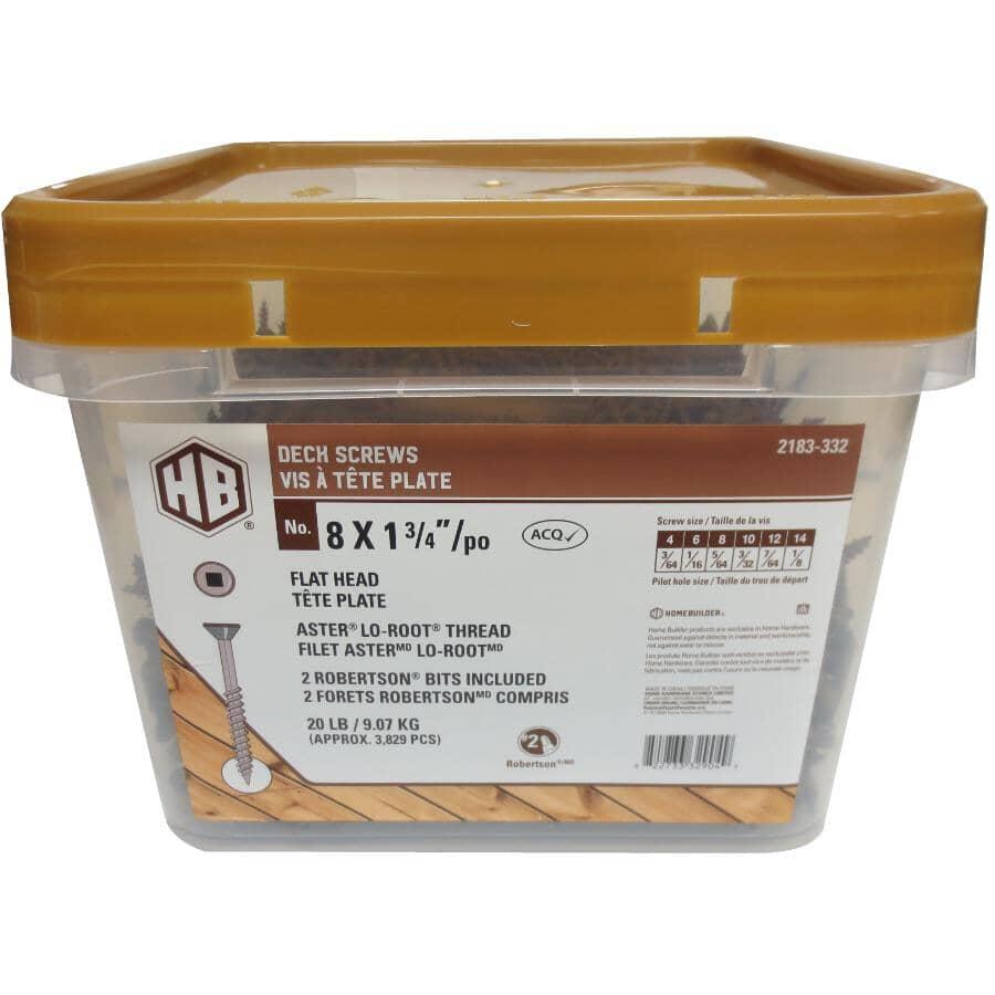 "HOME BUILDER:#8 x 1-3/4"" Brown Square Drive Deck Screws - 20 lb Pail"