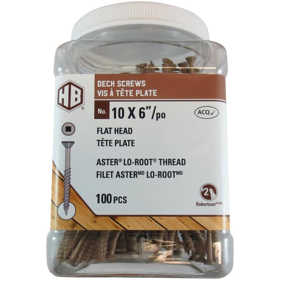 "HOME BUILDER:#10 x 6"" Brown Square Drive Deck Screws - 100 Pack"