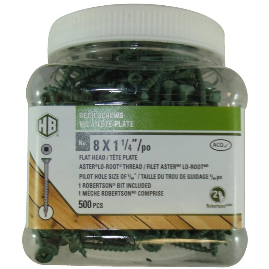 """HOME BUILDER:#8 x 1-1/4"""" Green Square Drive Deck Screws - 500 Pack"""