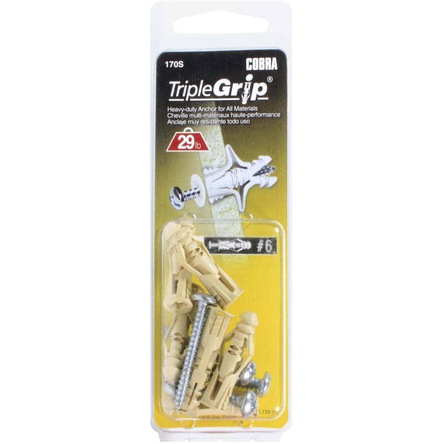 COBRA ANCHORS:Paquet de 6 ancrages en plastique beige no 6, avec vis