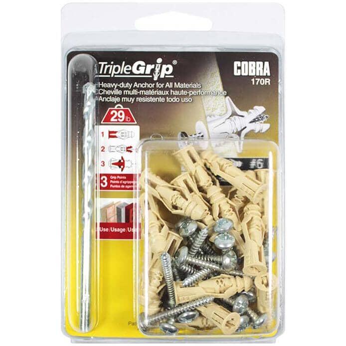 COBRA ANCHORS:Paquet de 20 ancrages en plastique no 6, avec vis et foret