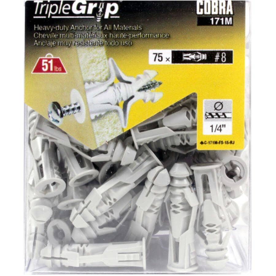 COBRA ANCHORS:75 Pack #8 Grey Plastic Anchors