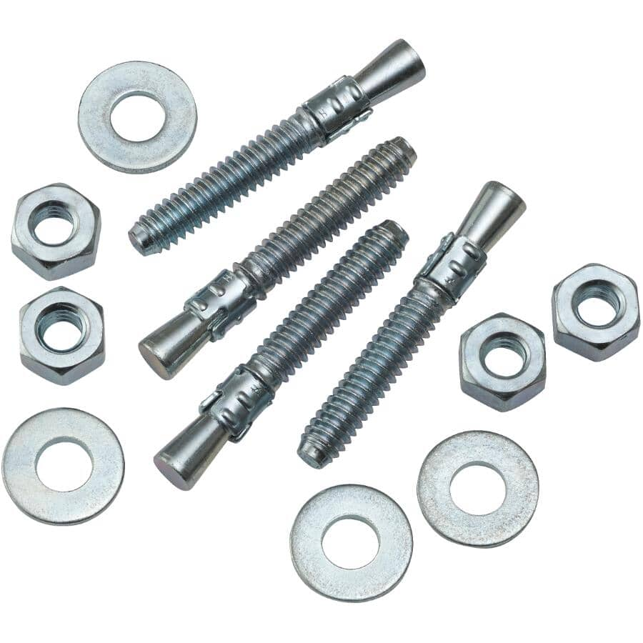"""HOME BUILDER/SIMPSON STRONG-TIE:4 Pack 1/4"""" x 1-3/4"""" Zinc Plated Wedge Anchors"""