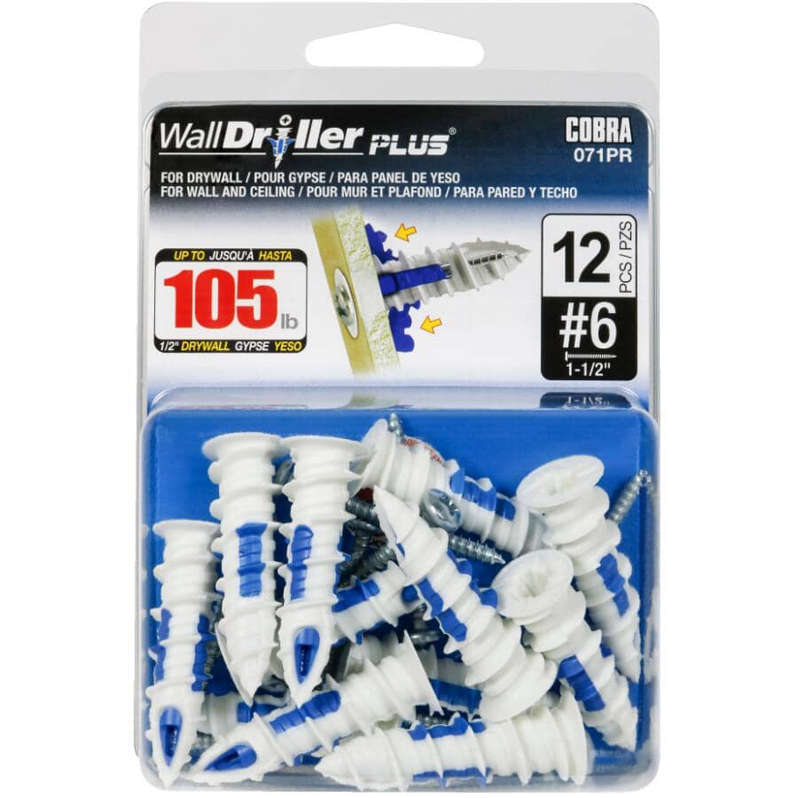 COBRA ANCHORS:#6 WallDriller Plus Anchors - with Screws, 12 Pack