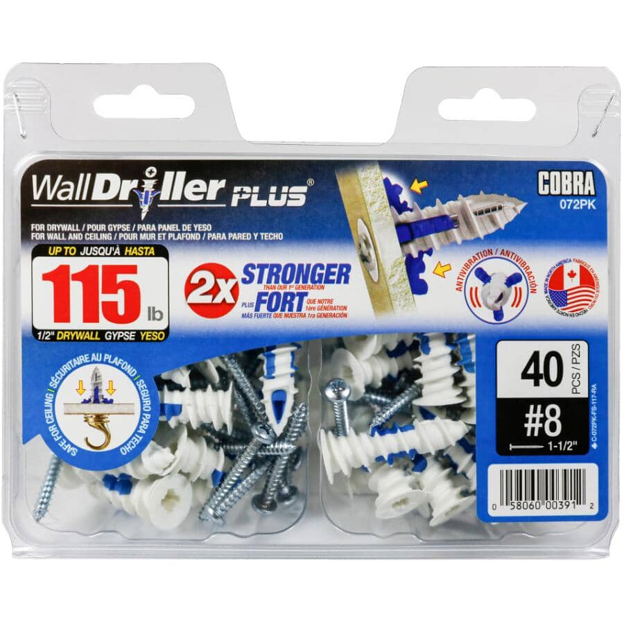 COBRA ANCHORS:#8 WallDriller Plus Anchors - with Screws, 40 Pack