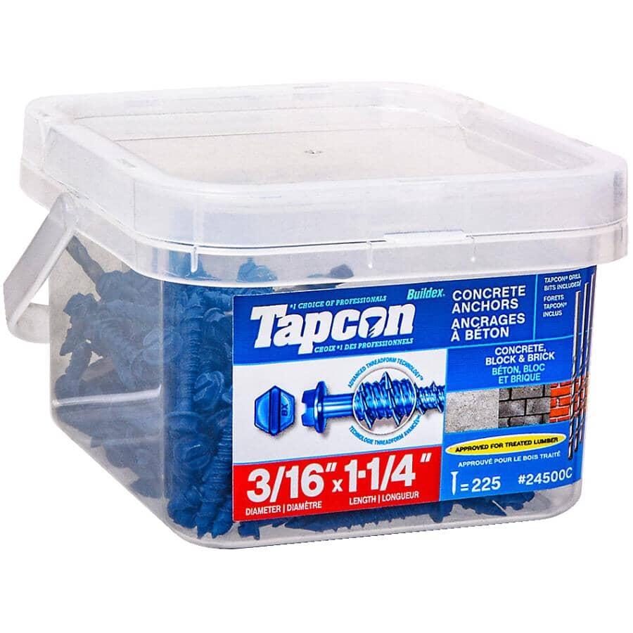 "TAPCON:225 Pack 3/16"" x 1-1/4"" Hex Head Concrete Screws - with Drill Bits"