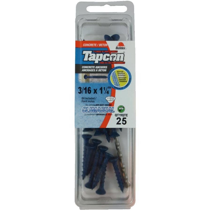 "HOME BUILDER/TAPCON:25 Pack 3/16"" x 1-1/4"" Blue Flat Head Concrete Screws"