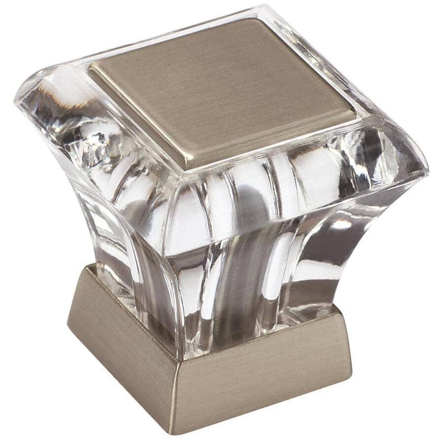 "AMEROCK:1"" Abernathy Square Cabinet Knob - Crystal + Satin Nickel"