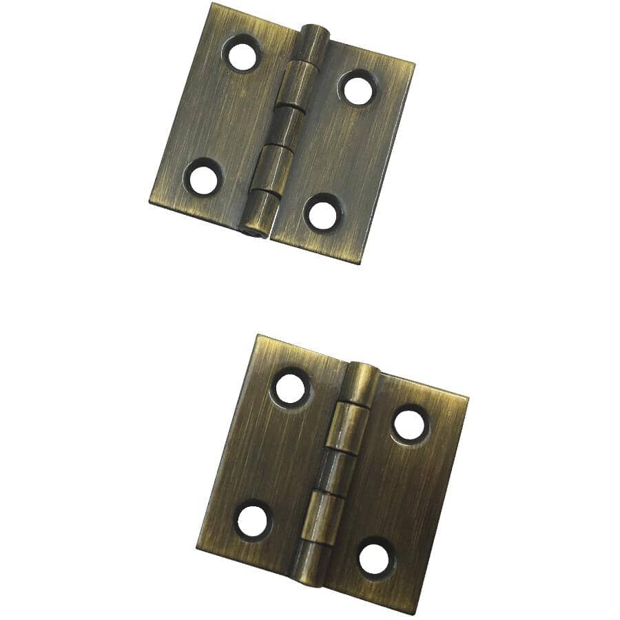 """BUILDER'S HARDWARE:2 Pack 1"""" x 1"""" Antique Brass Narrow Hinges"""