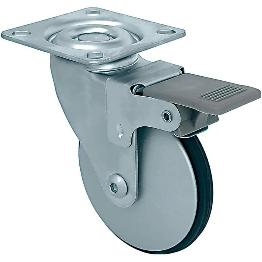 "SHEPHERD HARDWARE PRODUCTS:3"" Aluminium Wheel Swivel Plate Caster, with Brake"