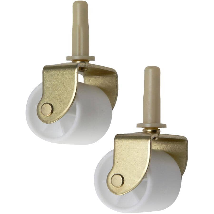 """HOME BUILDER:2 Pack 2-1/8"""" White Bed Stem Casters"""