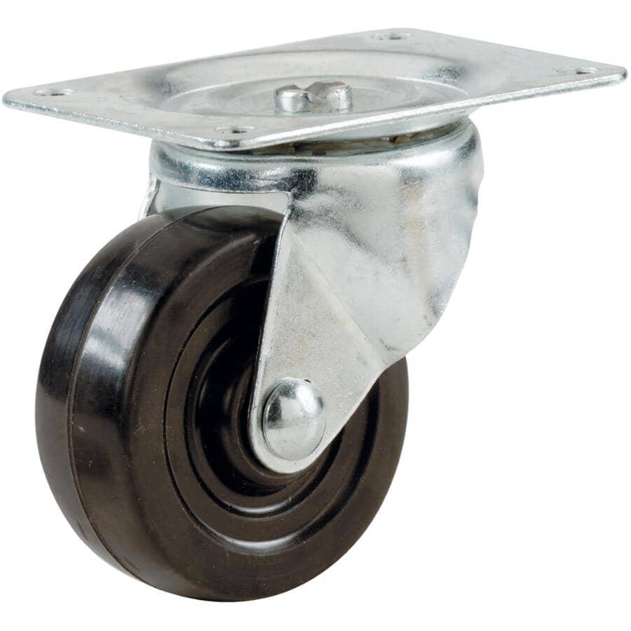 """HOME BUILDER:4"""" 255lb Rubber Swivel Plate Caster"""