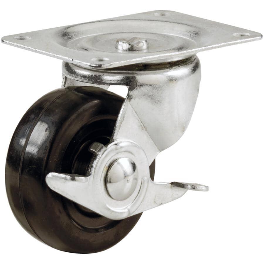 "HOME BUILDER:4"" 255lb Rubber Swivel Plate Caster, with Brake"