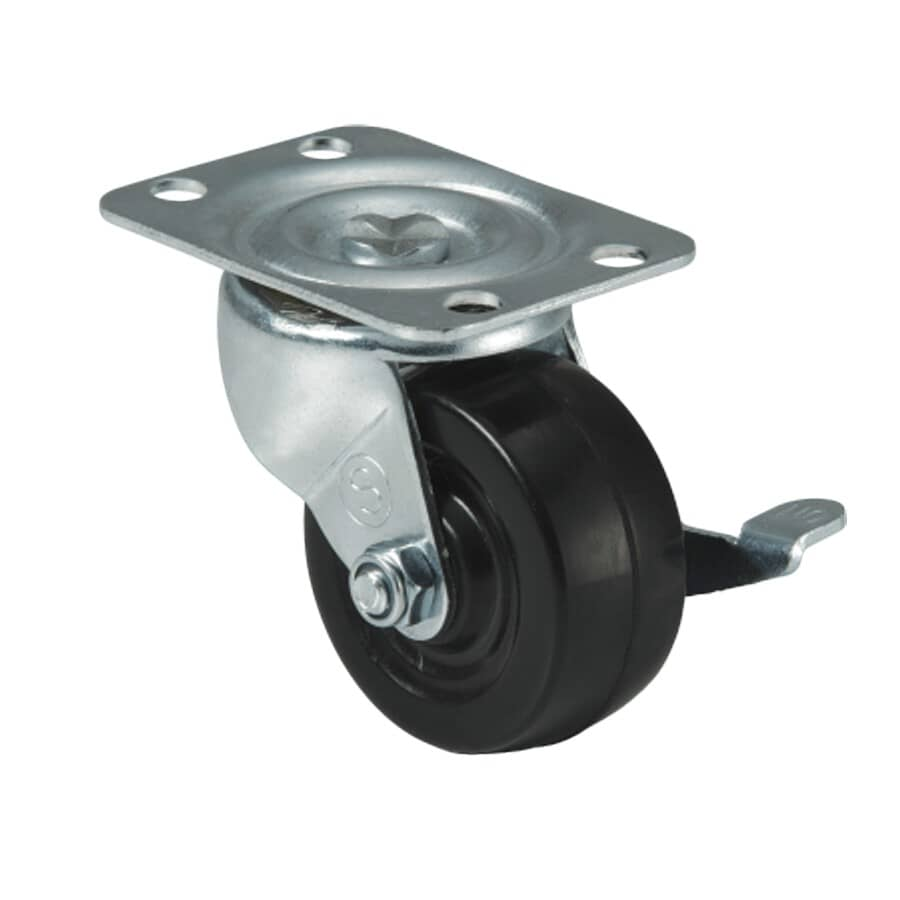 """SHEPHERD HARDWARE PRODUCTS:2-1/2"""" Rubber Swivel Plate Caster - with Brake"""