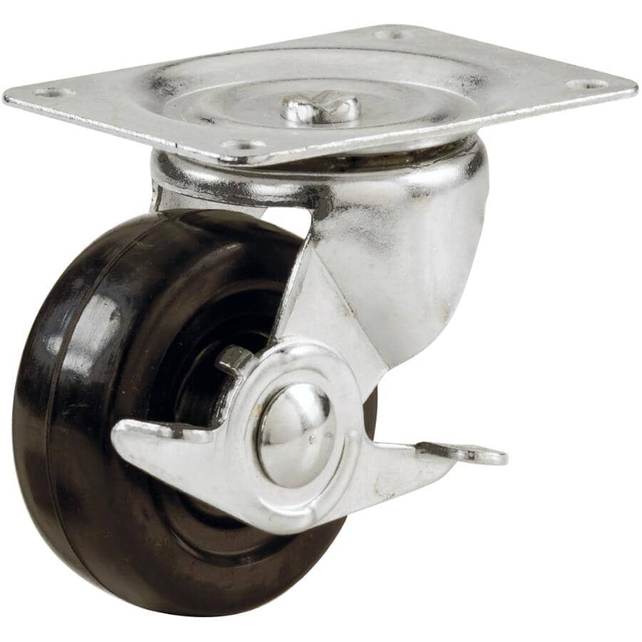 """HOME BUILDER:3"""" Rubber Swivel Plate Caster, with Brake"""
