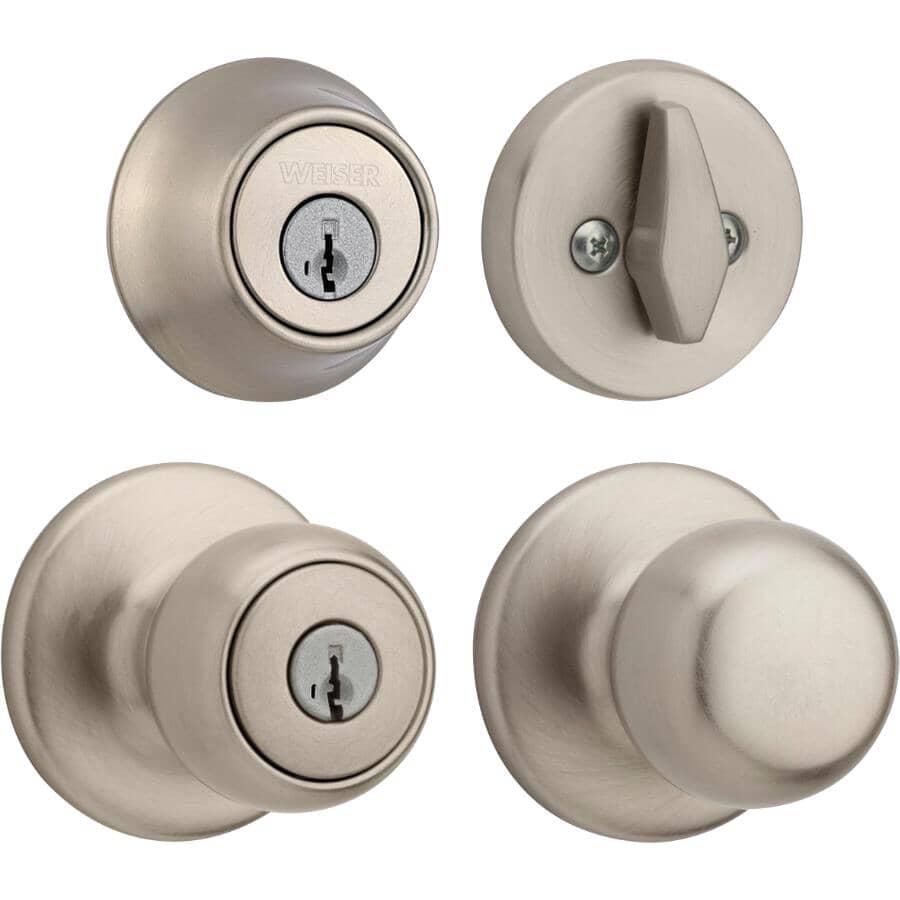 WEISER LOCK:Ensemble de poignée et pêne dormant Fairfax Smart Key pour entrée, nickel satiné