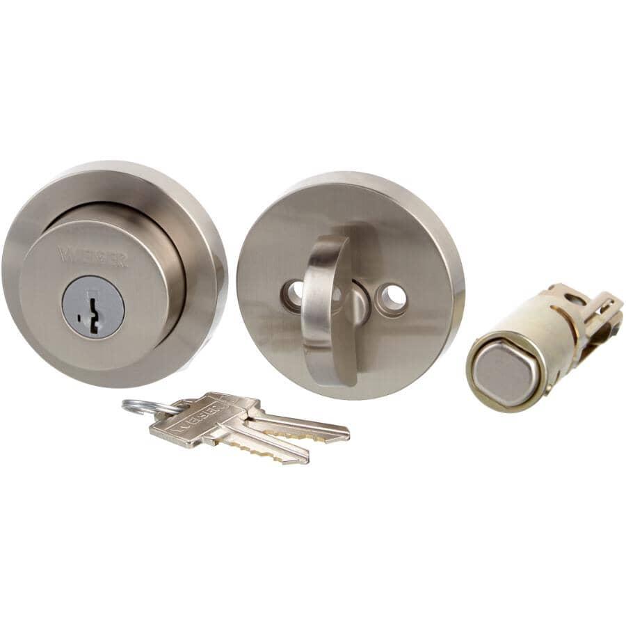 WEISER LOCK:Serrure ronde moderne à pêne dormant à cylindre simple Smart Key, nickel satiné