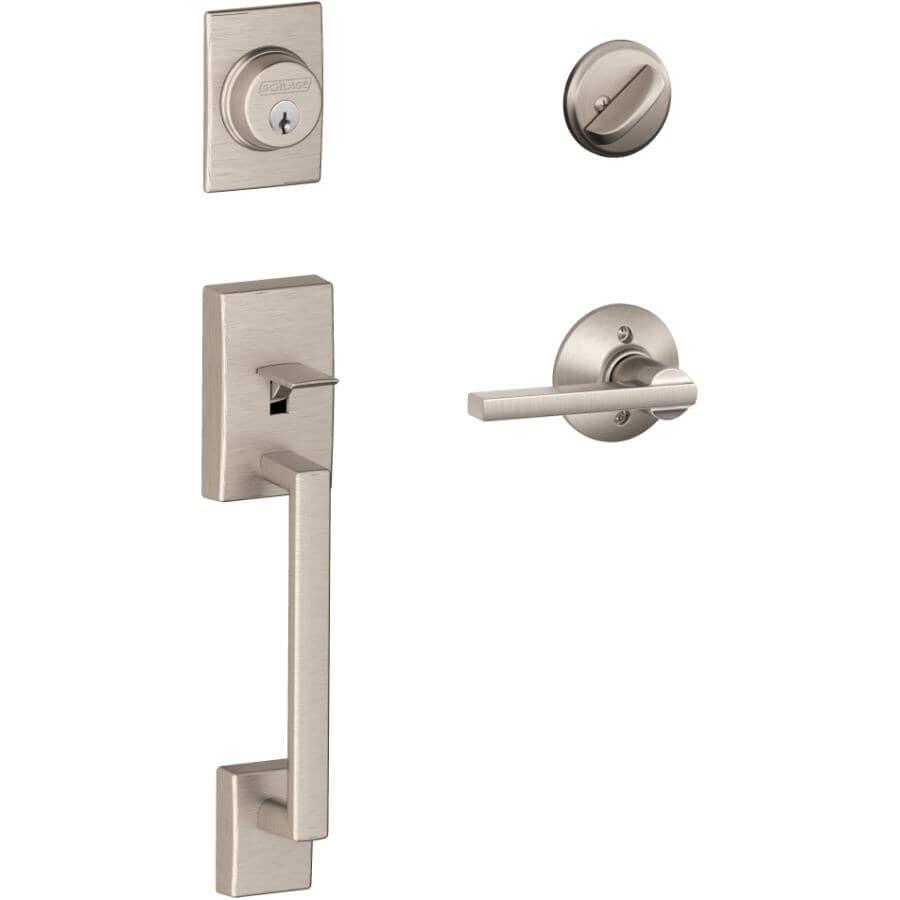 SCHLAGE LOCK:Century Exterior & Latitude Interior Lever Keyed Entry Gripset - Satin Nickel