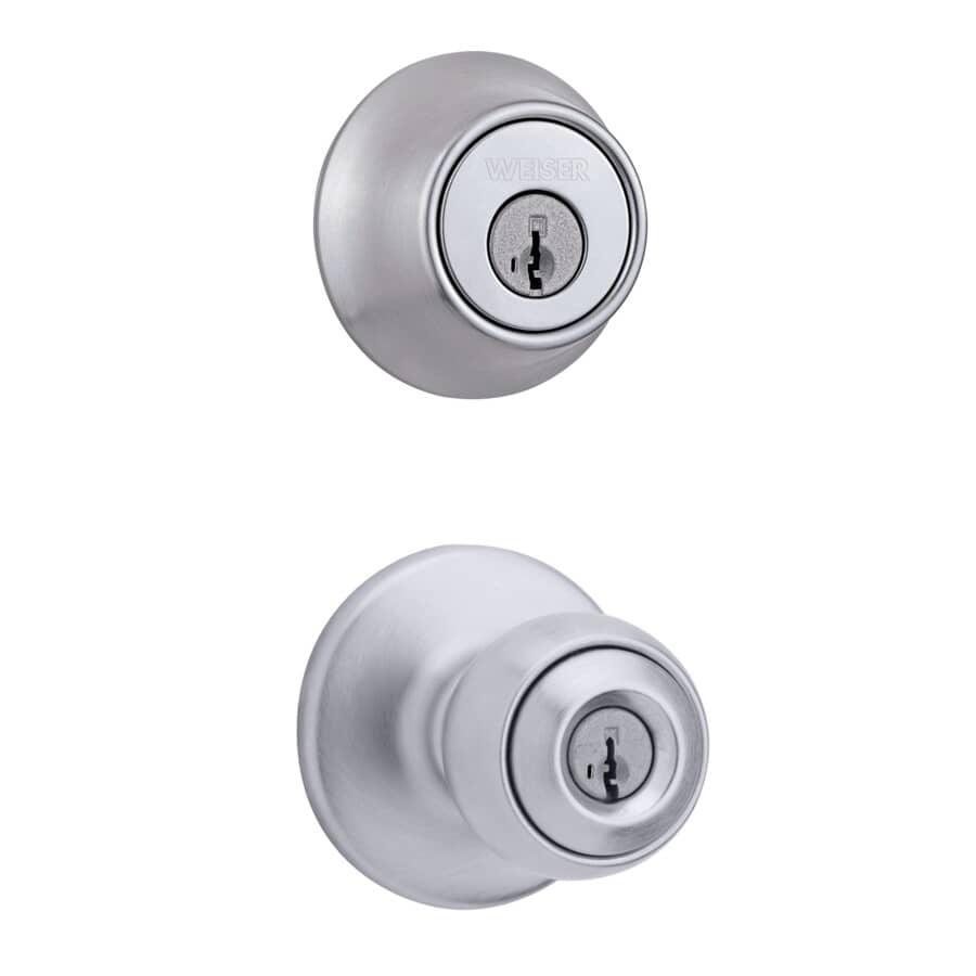WEISER LOCK:Satin Chrome Yukon Smart Key Entry and Deadbolt Knobset