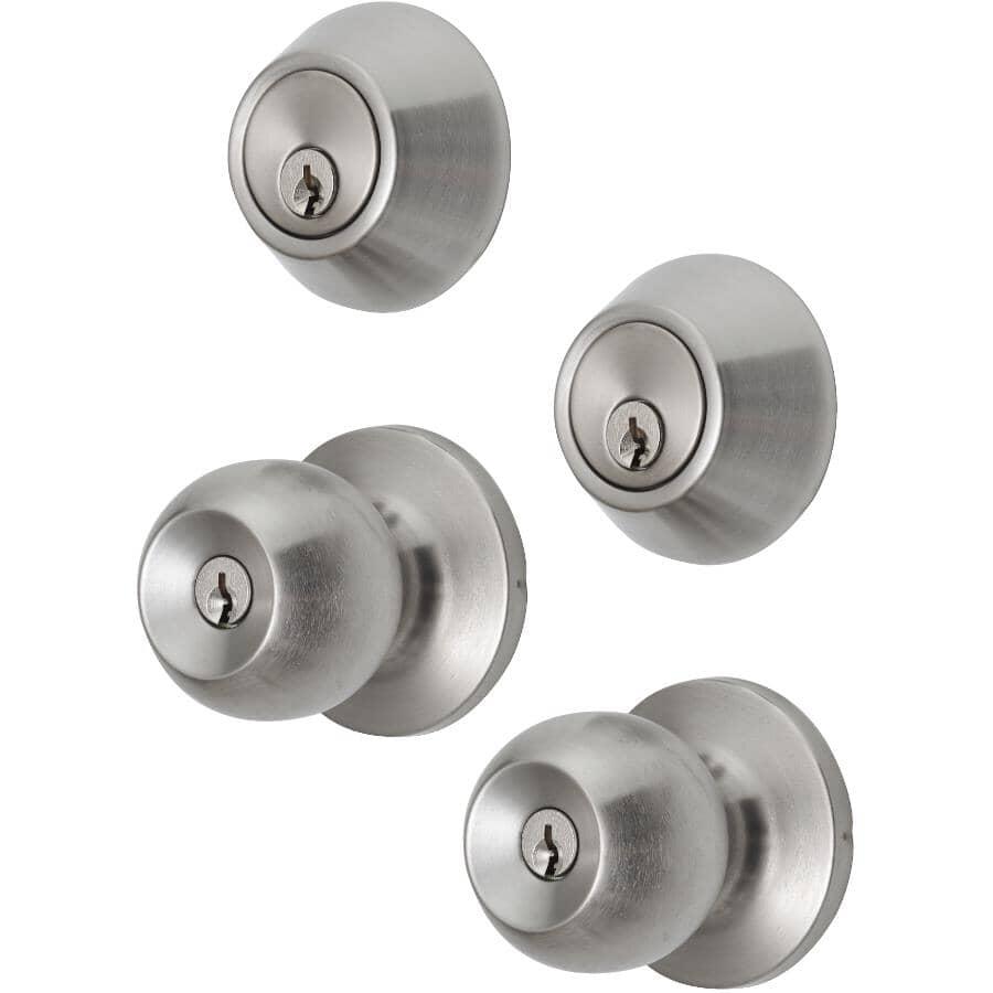 ECONOMY:2 Pack Satin Nickel Keyed Alike Entrance and Deadbolt Knobset