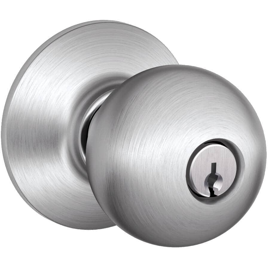 SCHLAGE LOCK:Poignée pour entrée Orbit à clé identique, chrome satiné