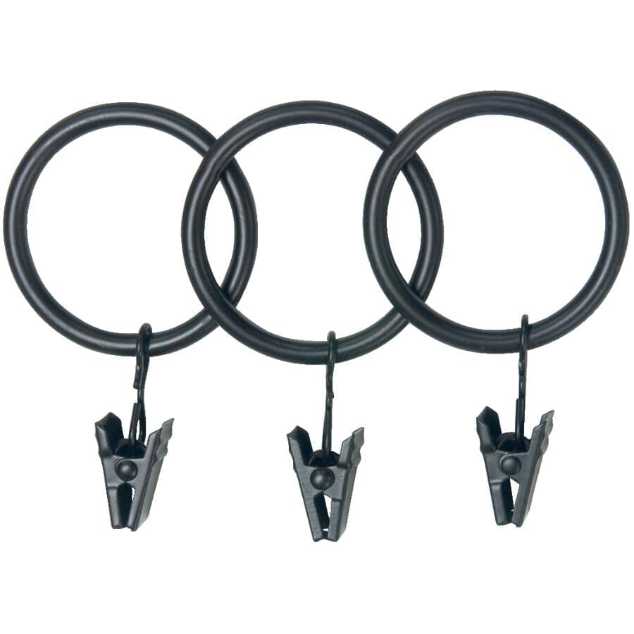 """KENNEY:14 Pack Black Curtain Rings, Fits 1"""" and 1-1/4"""" Rods"""