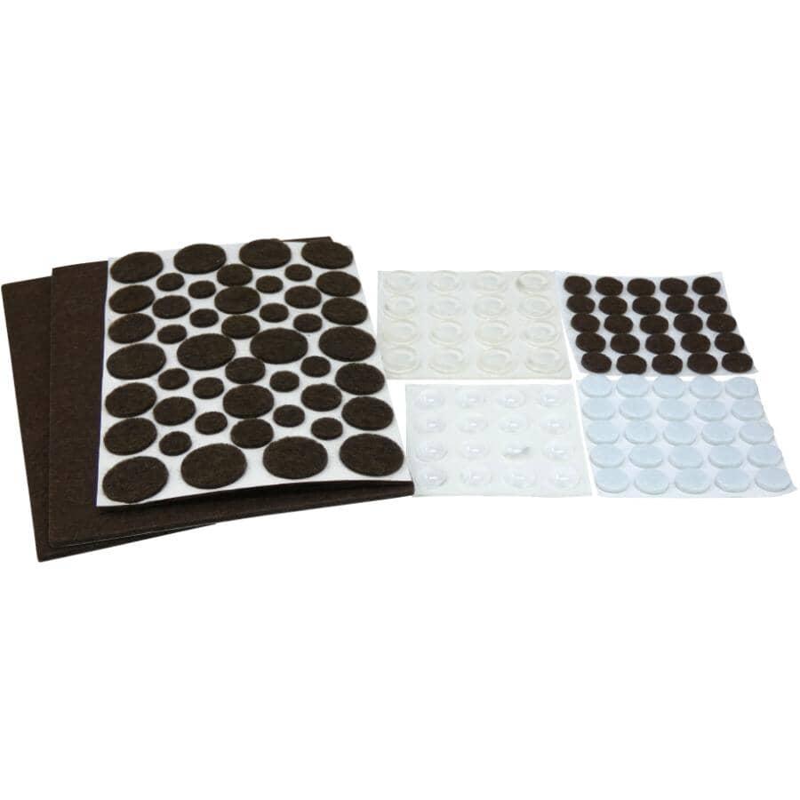 SHEPHERD HARDWARE PRODUCTS:130 Pack Light & Medium Duty Felt & Vinyl Pads, Assorted Sizes