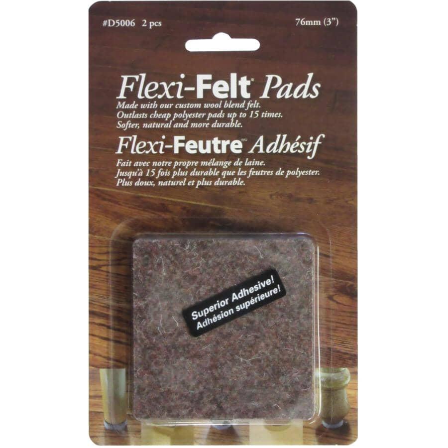 "FLEXI-FELT:2 Pack 3"" Brown Square Felt Pads"