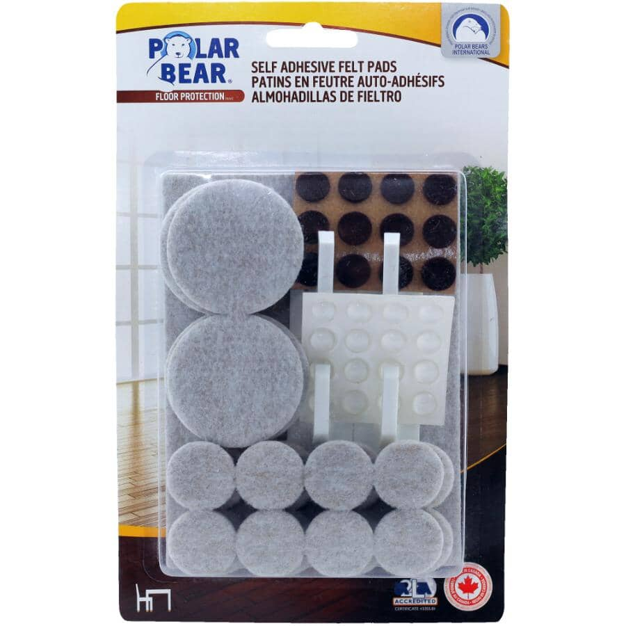 POLAR BEAR:85 Pack Grey Kitchen Kit Felt Pads