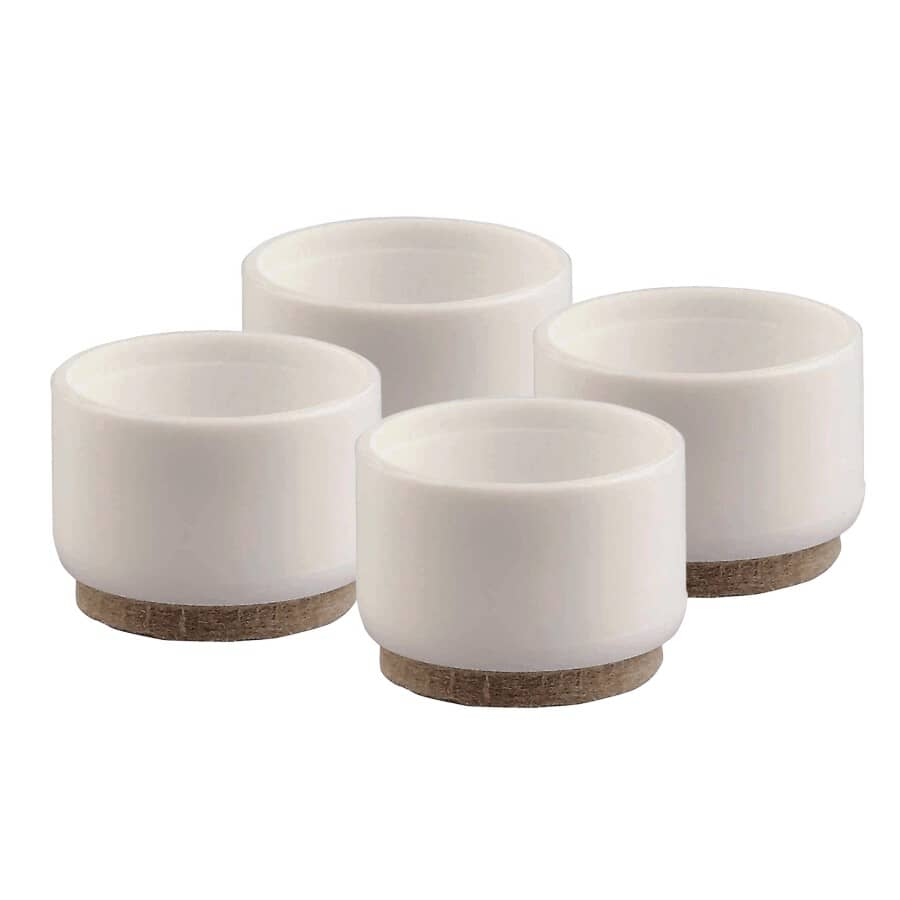 "HOMEWARES:4 Pack 1-1/4"" White Plastic Furniture Leg Tips, with Feltguard"
